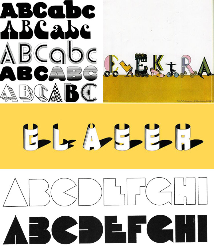Seymour Chwast (left) - display typefaces design. Seymour Chwast – moving announcement for Elektra Productions, 1965. Milton Glaser (middle) – Hologram Shadow font, 1977. Milton Glaser (bottom) – Baby Teeth font, an iconic funky typography, 1964.