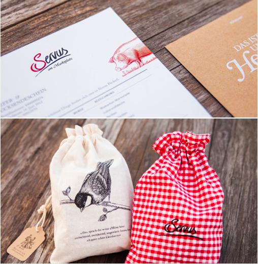 Brand identity for an online handmade goods store  Servus am Marktplatz.  Packaging and digital branding by  Moodley  (Austria).