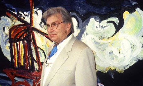 Karel Appel, who died in 2006, with his 1984 painting Orage Annociateur. Over 400 artworks, stolen in 2002, have been found in a British warehouse. Photograph: Nico Delaive/AP