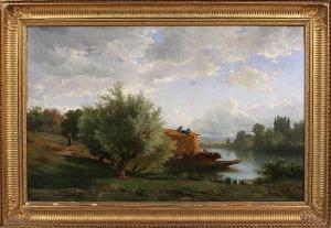 Landscape (Cattle and Herdsmen Crossing a Stream)  by Clement Alphonse Antonin Fanart