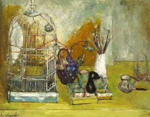 Andre Vignoles,  Birdcage and still life