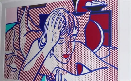 The Lichtenstein artwork  Thinking Nude  image is shown as released by the New York City Police Department