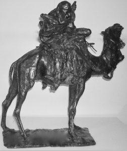 Bronze statue,  Man Riding a Camel