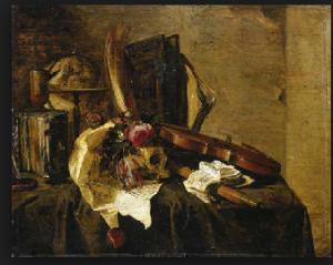 Jacques de Claeuw (active Dordrecht, The Hague, Leiden; d. after 1676)  A vanitas still life with a globe, books, a skull, a violin, a flute, a letter and flowers on a draped ledge