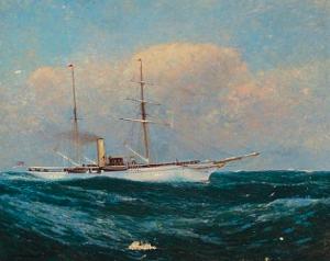 NYYC Steam-Sail Yacht at Sea  by Charlton T. Chapman