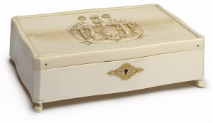 A Dieppe Carved Ivory Box by Charles-Etienne Thomas, circa 1830, Inscribed  Thomas Sculptr Dieppe