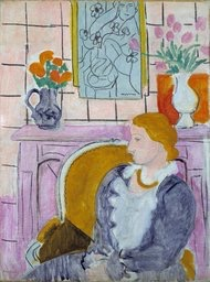 """The painting """"Woman in Blue in Front of a Fireplace,"""" circa 1937 by Henry Matisse. The painting had been the centerpiece of the Henie Onstad Art Center near Oslo since the museum was established in 1968 by shipping magnate Niels Onstad and his wife, Olympic figure-skating champion Sonja Henie"""