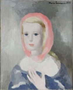 Marie Laurencin,  Jeunesse , also known as  Simon Moreau , dated 1939, 41 x 33 cm, oil on canvas. Paul Rosenberg inventory card #4093
