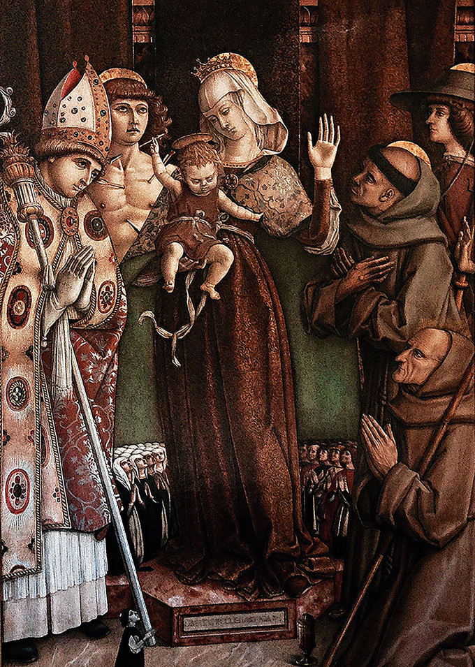 The Virgin and Child attended by Saint Sebastian, Saint Roch, Saint Emidio, Saint Francis and Jacopo della Marca by Carlo Crivelli.