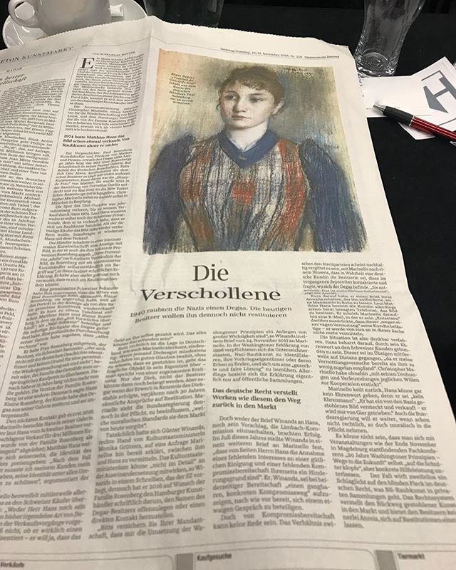 Pleased to see German media coverage of the Nazi looted Degas story. Where are you Swiss media? It's time to address art and assets stolen from Jewish families being hidden in Swiss vaults and collections.  #pressrelease #art #fineart #artcrimes #arttheft #crime #stolen #artdealer #gallery #painting #missing #ari #artdetective #artfinder #artresearch #artworldnews #artbuyers #artrecovery #degas #hamburg #nazilootedart #theftalert #portrait #edgardegas #picasso #matisse #research #onthehunt #gettingcloser ⠀