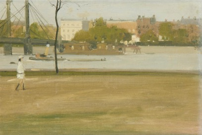 Sir Herbert James Gunn RA PRP RSW (British, 1893-1964),  View of the Thames and the Albert Bridge from Battersea Park,  oil on board 25.5 x 35.5cm (10 1/16 x 14in).