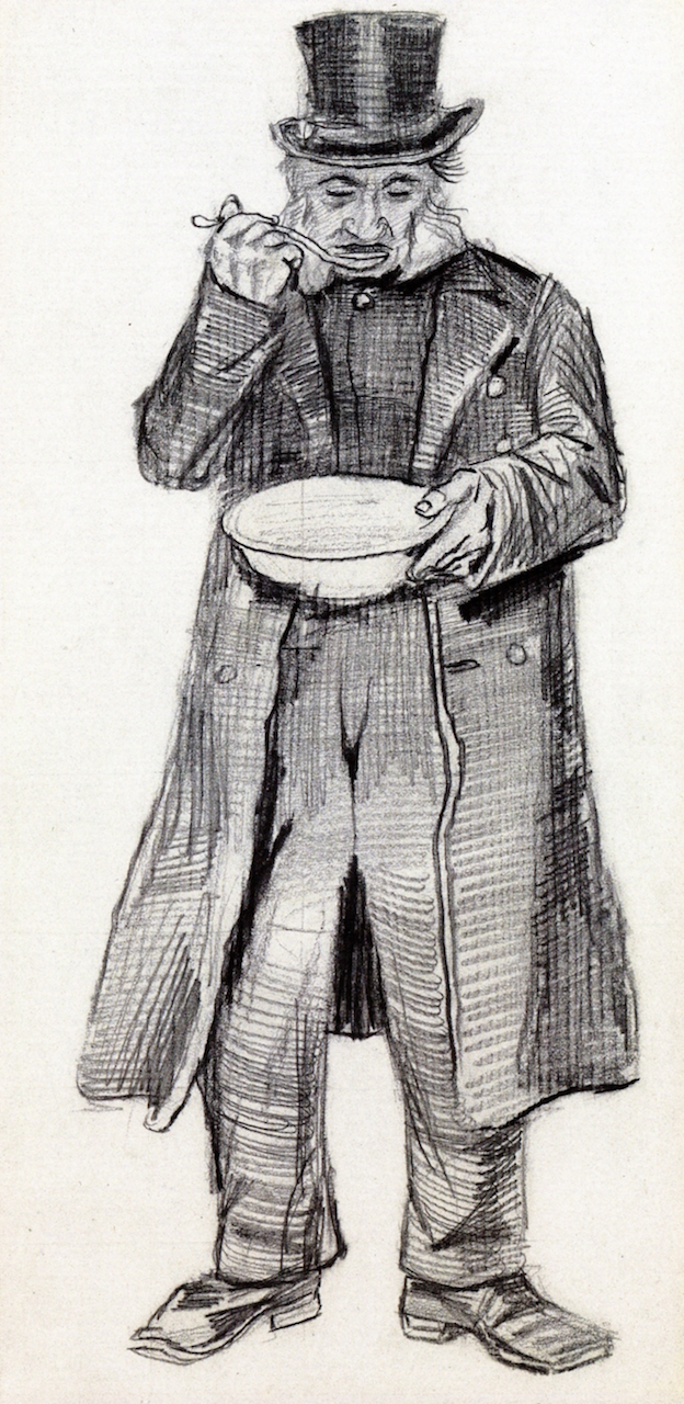 Orphan Man with Top Hat Eating from a Plate,  Vincent van Gogh  Drawing, Pencil, The Hague: September - October, 1882