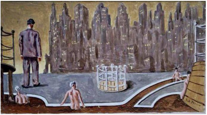 Giorgio de Chirico, (1888–1978) ,  I bagni misteriori a Manhattan 1937, Oil on Cardboard, 25.5 x 45 cm. (10 x 17.7 in.)