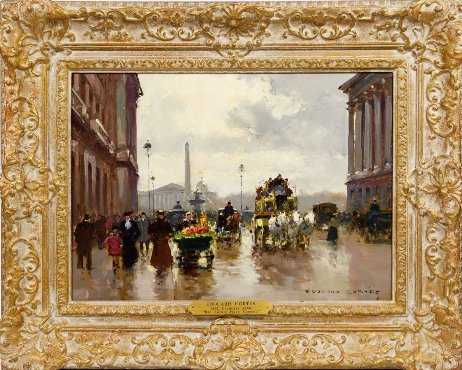 "Edouard Cortes (French, 1882-1969) ""Rue Royale Place Concord"" Oil On Canvas"
