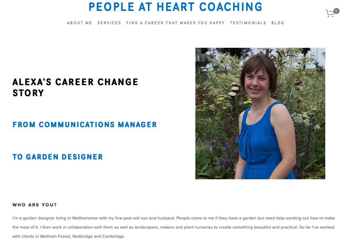 people at heart coaching - Blog post interview with me on how I changed my career.Read the full blog post.June 2019.