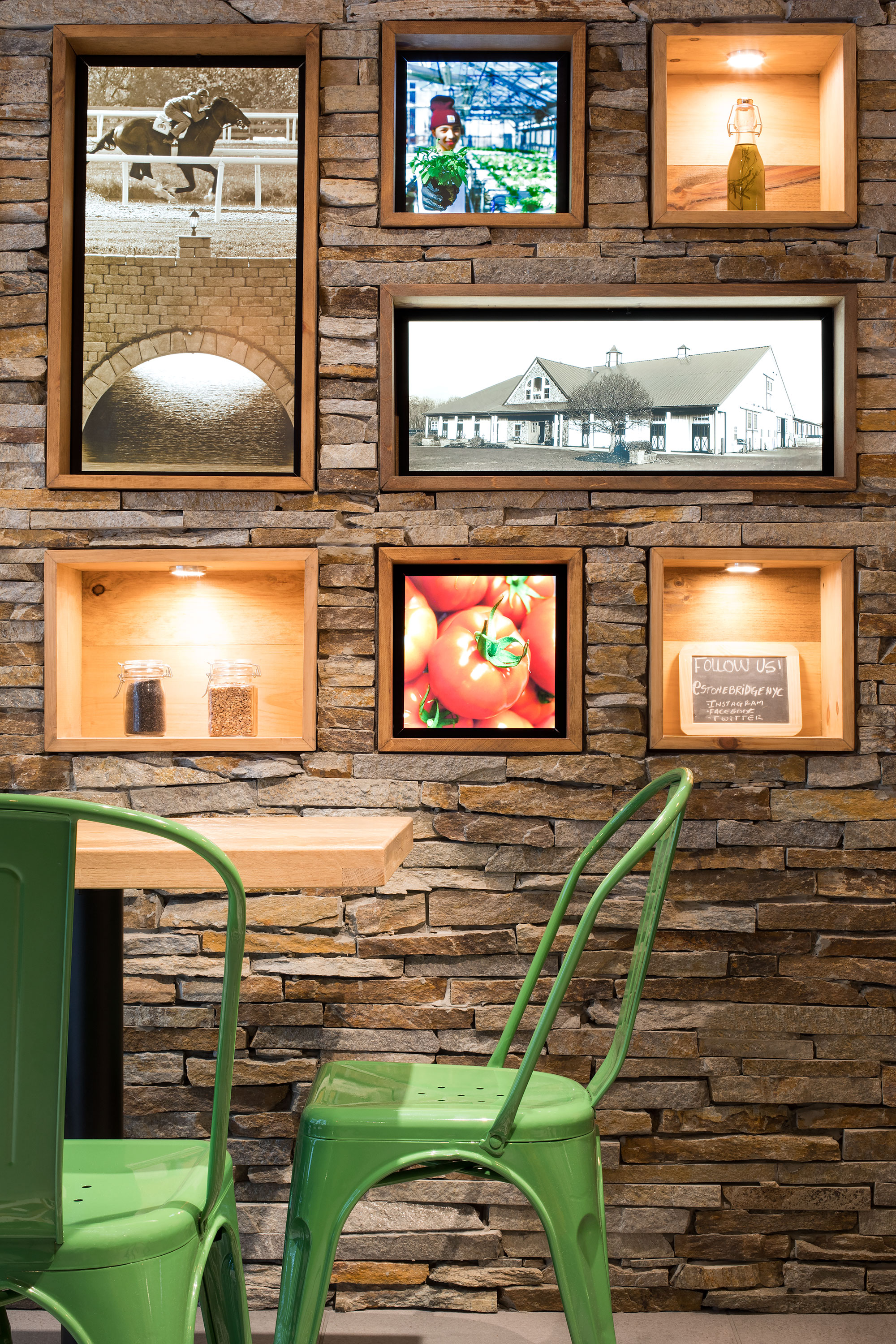 Stone Bridge Pizza & Salad - Entry Seating and Farm to Table Lightbox Wall