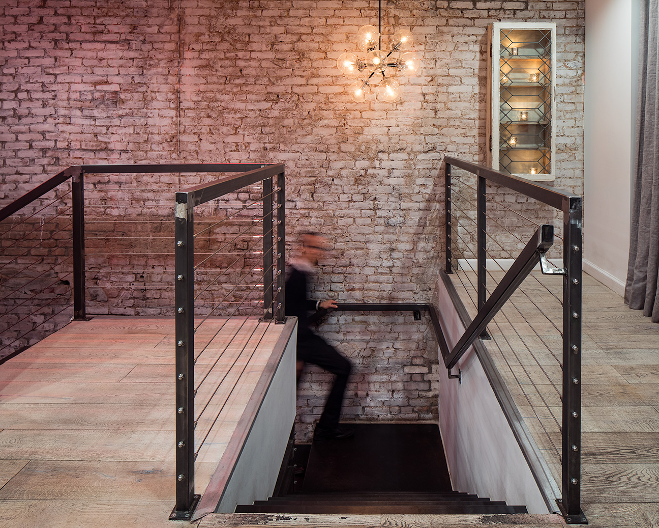 ps kitchen folded metal stair and wire railing