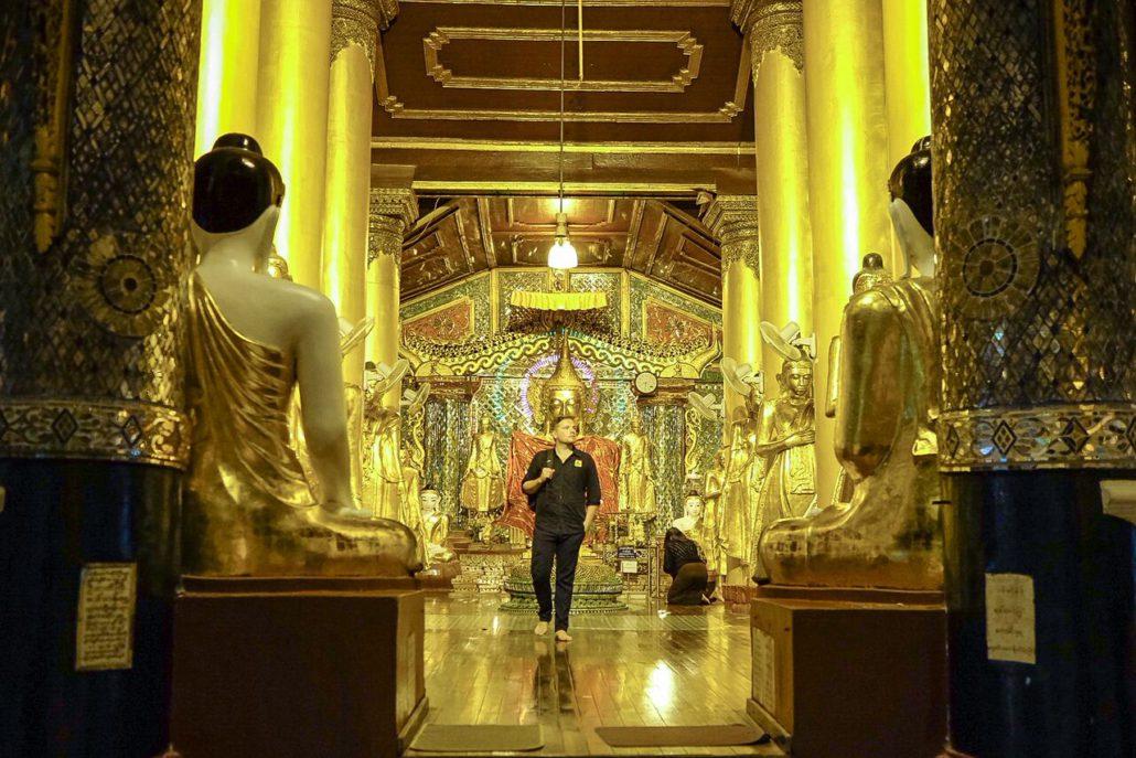 Exploring the Shwedagon Pagoda compound.