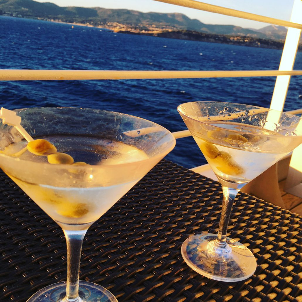 Our ever-attentive butler brings us the perfect martinis. We enjoy them on our private veranda, anticipating our next glamorous port of call, Monte Carlo!