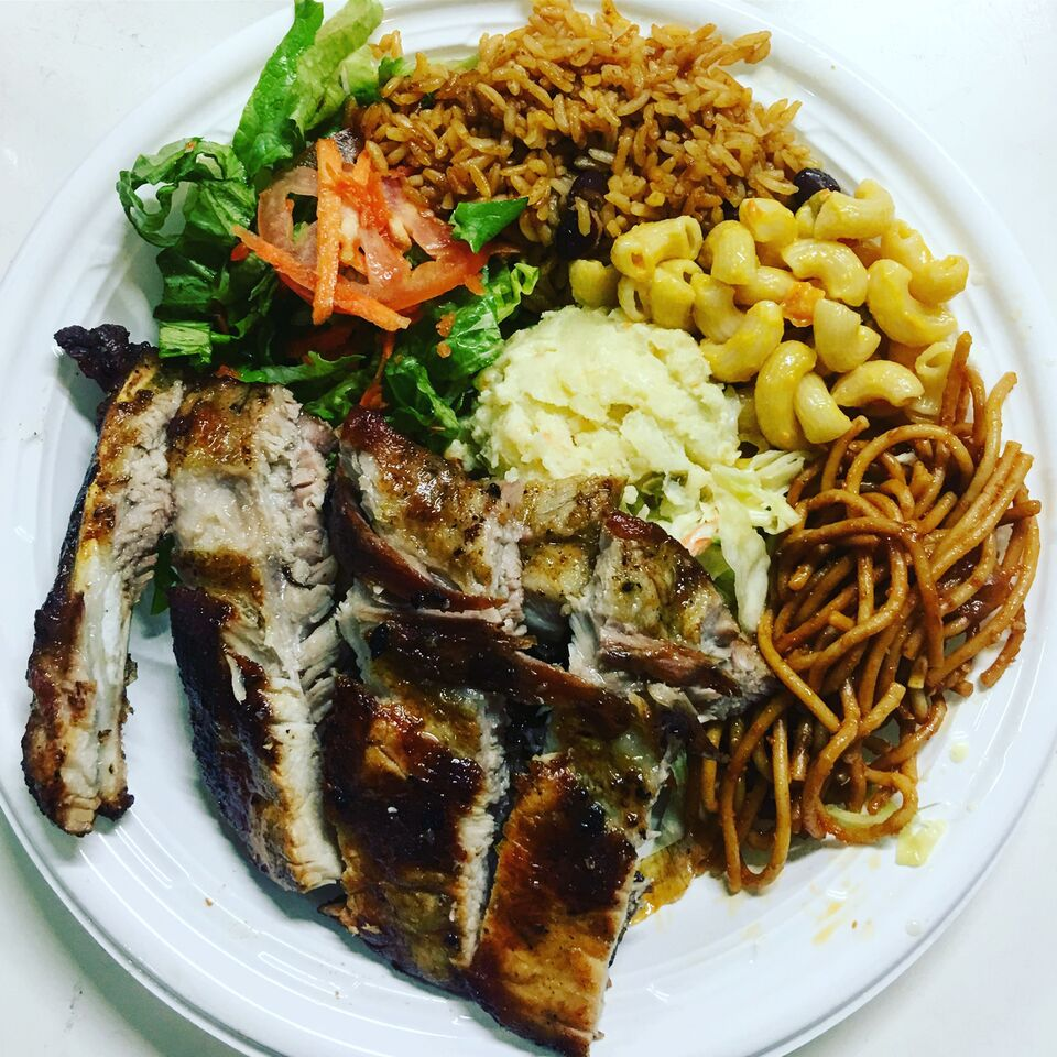 A $10 USD plate of food from The Lolo's