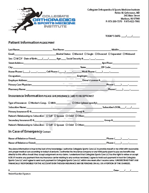 Click to Enlarge and Download Adult Forms Packet (PDF Format)
