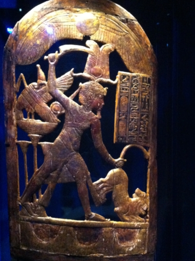 The ceremonial shield depicting King Tut slaying the lion.