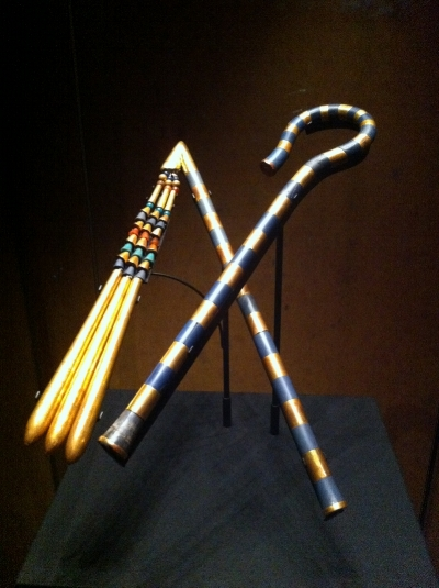 The objects symbolizing the kingly royalty. The ceremonial crook and the flail.