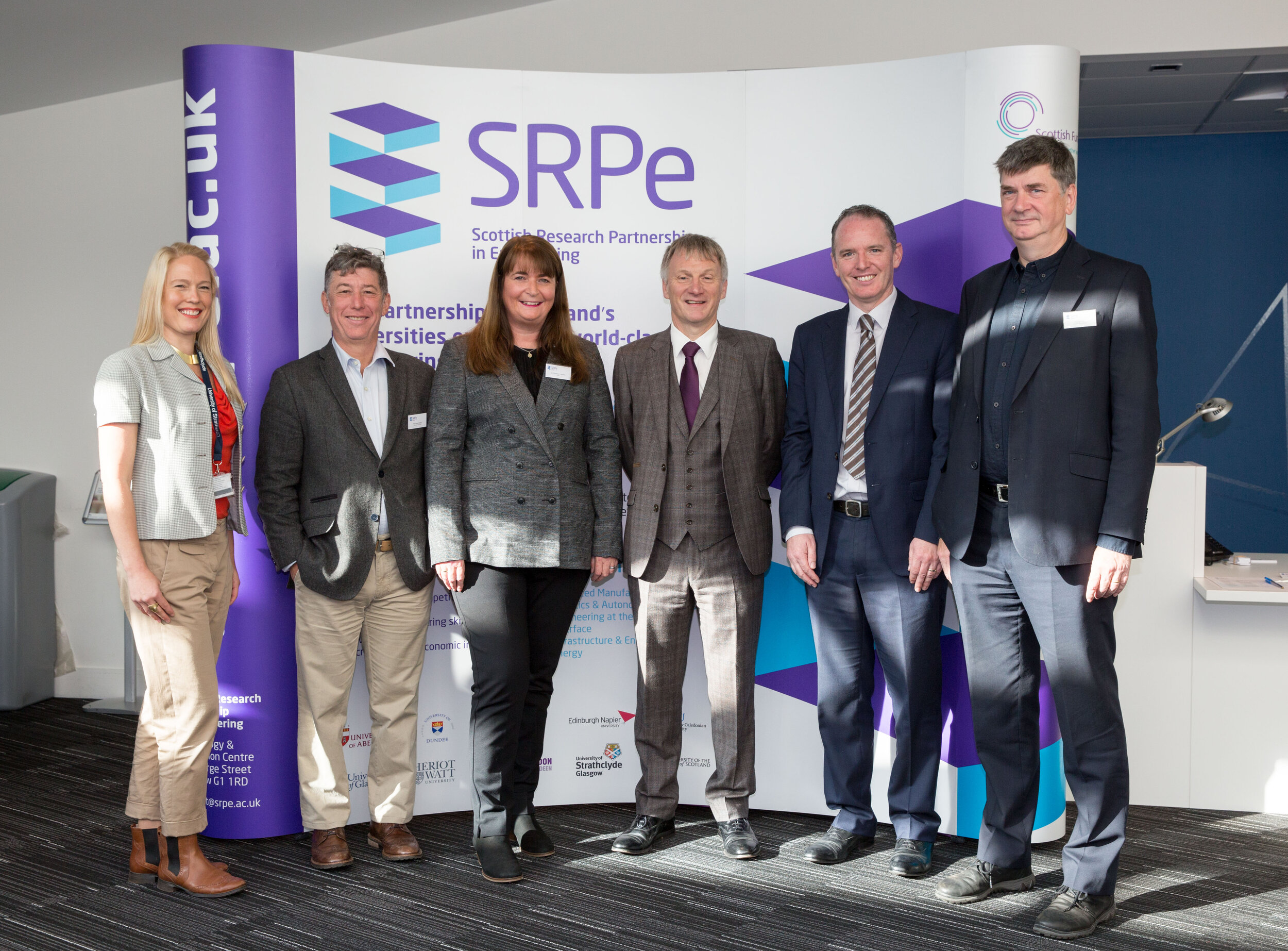 From left to right: Claire Ordoyno (SRPe Coordinator), Professor Yvan Petillot (SRPe / Heriot Watt University), Dr Caroline Cantley (SRPe Executive Director), Ivan McKee MSP (Minister for Trade, Investment and Innovation), Adrian Gillespie (CCO, University of Strathclyde), Professor Bill Ion (SRPe / University of Strathclyde).