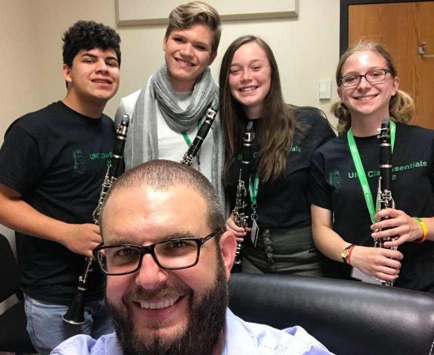 Phillip with the clarinet quartet he coached at ClarEssentials.