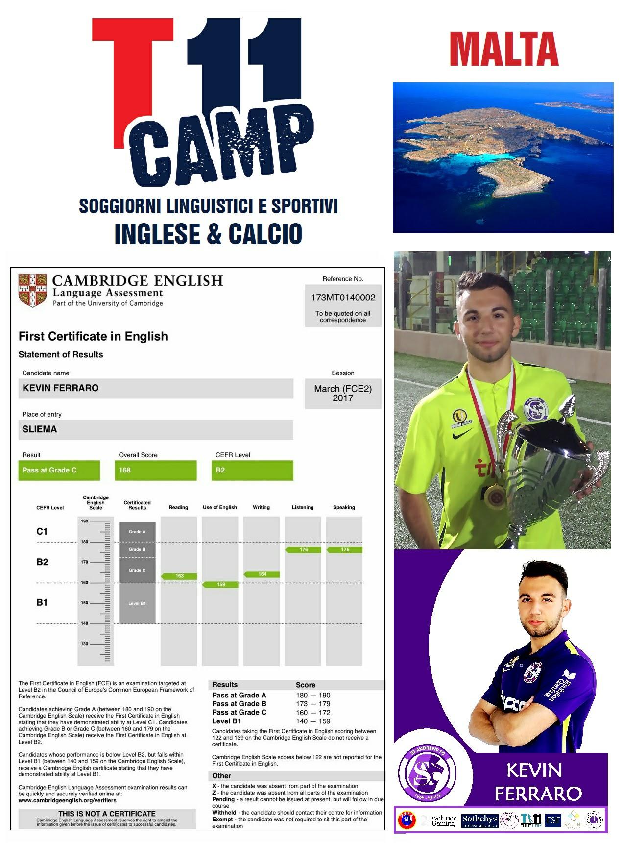 T11Camp, certificato d'inglese e calcio