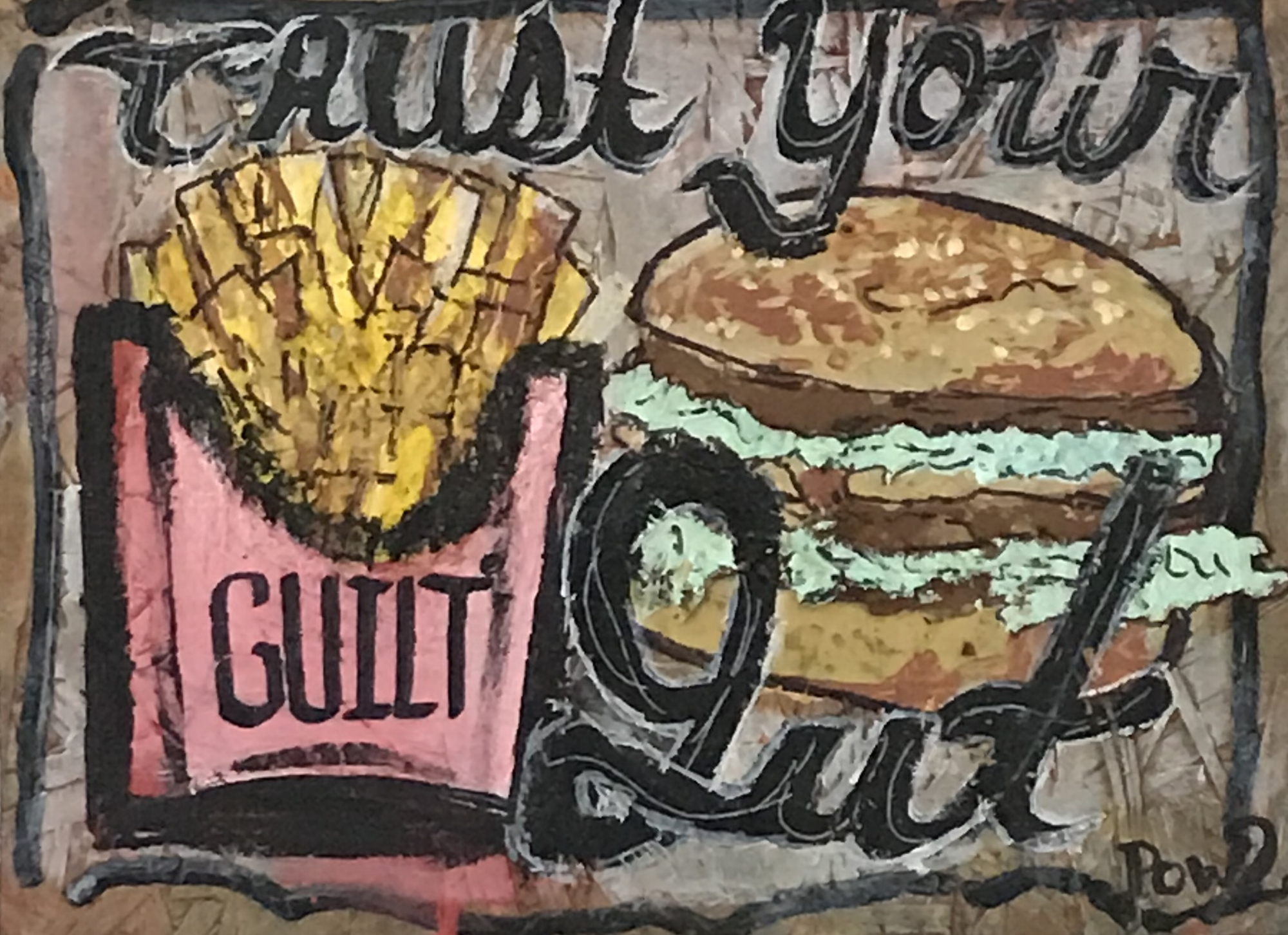 """Trust Your Gut"" artwork by Pow Square. Featured and sold as part of ""Rising Phoenix"" exhibit"