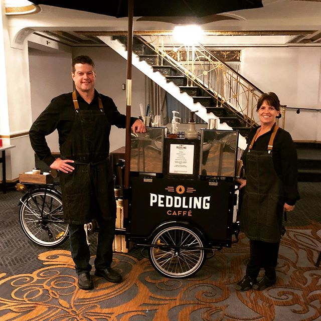Big thanks to Deb Bingel! Last week we worked a corporate event in Boston together. It was an early set up , as in we arrived at 4am to set up! Nothing but a positive attitude and big smile! #peddlingcaffecaterers #espressocatering #coldbrewcatering #hardwork