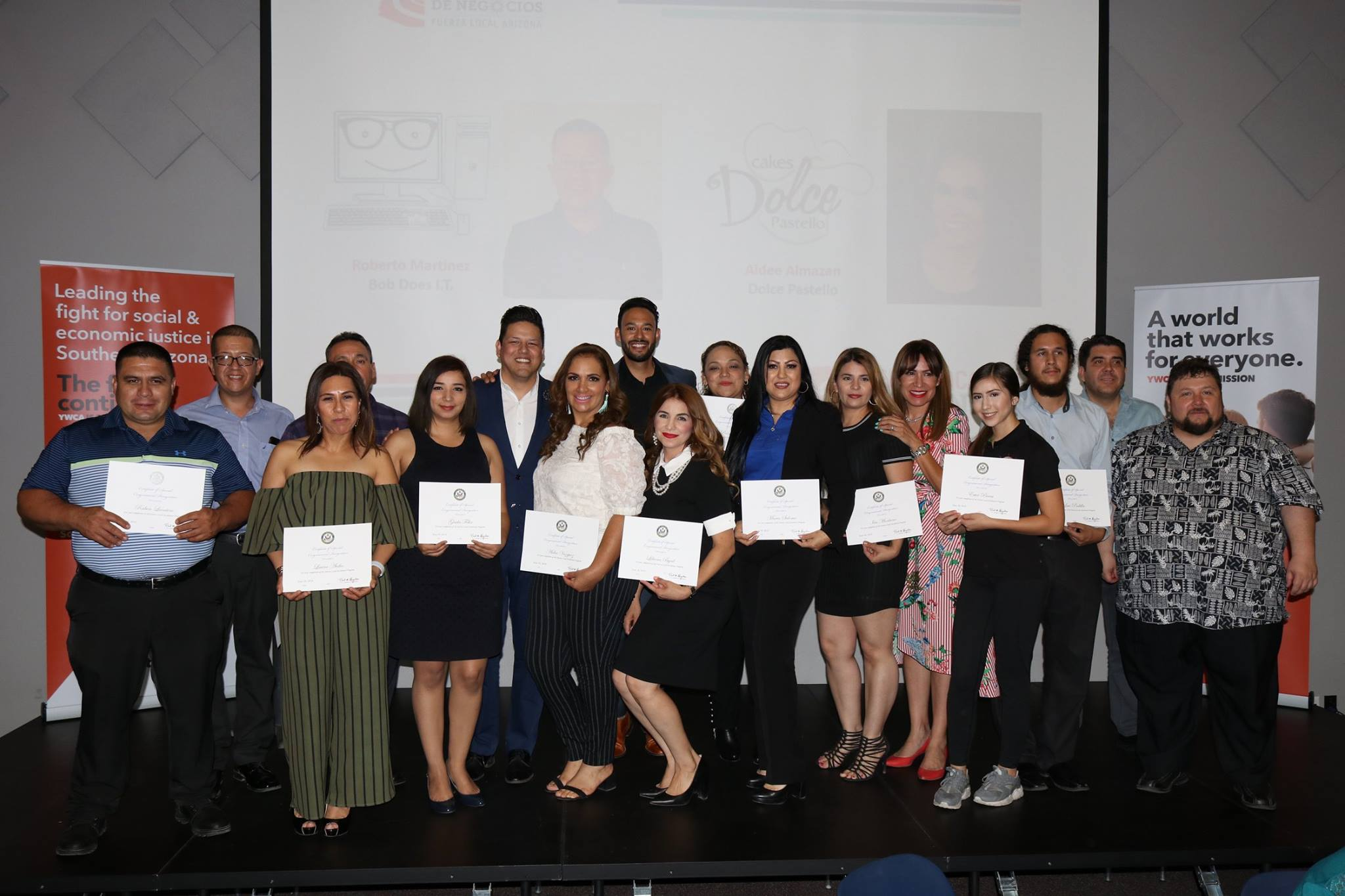 The graduates of our first Southern Arizona Fuerza Local Business Accelerator cohort pose with their certificates.