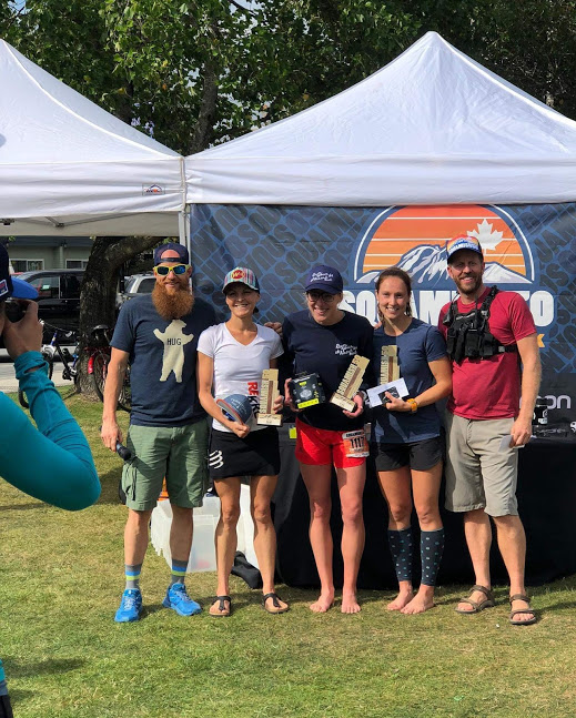 Photo by Matt Bolam  50mi women's podium with Jeanelle Hazlett (1st, middle), Myself (2nd, right) and Catrin Jones (3rd, left)
