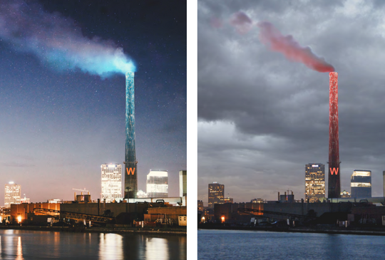 The smokestack at the Jones Island sewage treatment plant would change its lit color from blue to red as part of the WaterMarks public art project. (Photo: Mary Miss)