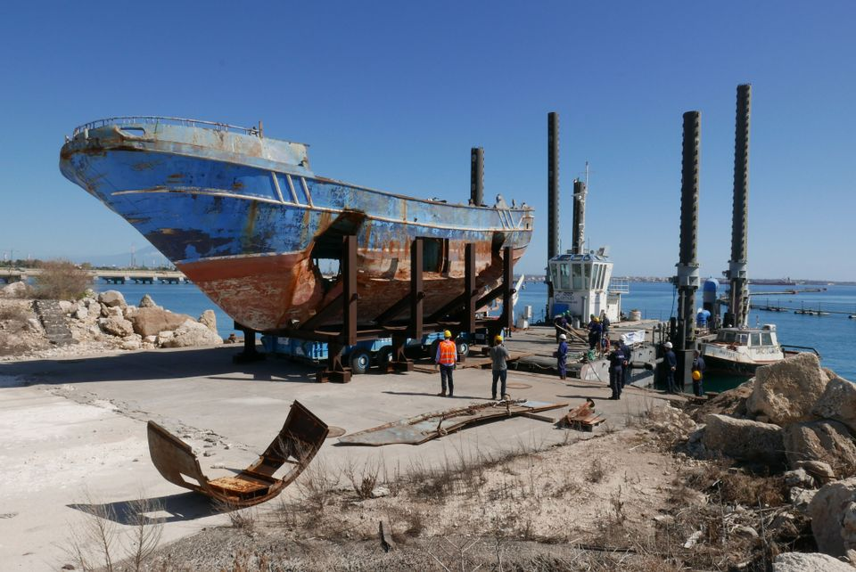 The shipwreck being transported from the Pontile Marina Militare di Melilli (NATO) to the Arsenale in Venice Courtesy of Barca Nostra