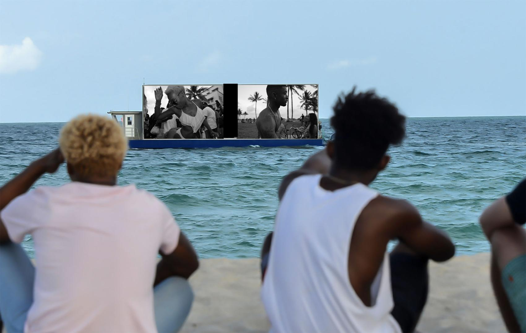 "Urban Beach Week revelers watch themselves on a LED screen as part of the promotion of ""waterRIGHTS."" The photo installation is part of Johanne Rahaman's BlackFlorida archives. Photo courtesy of Johanne Rahaman."