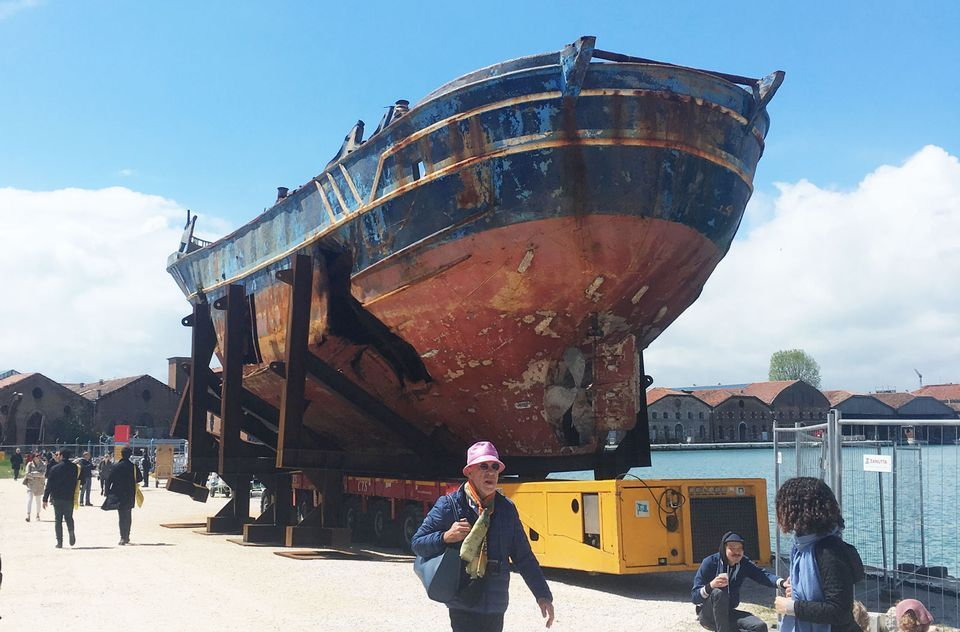 Hundreds of migrants died on this boat; now Christoph Büchel is showing it as a work of art in Venice © The Art Newspaper
