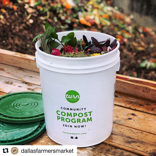 We are at the @dallasfarmersmarket every Saturday!! Check out our website for other drop off locations and dates. #Repost ・・・ This week is International Compost Awareness Week. Did you know that at least 30% of what goes into our Dallas landfill is compostable kitchen and yard waste? We've partnered with @turncompost Dallas to offer community drop-off services of your food scraps every Saturday at the market. Turn is on a mission to reduce and recycle organic waste in our community and give back to local farm and garden partners. Check out their subscriptions (turncompost.com) and visit them every Saturday at their booth inside The Shed! .  #mydtd #supportlocal #dallasfarmersmarket