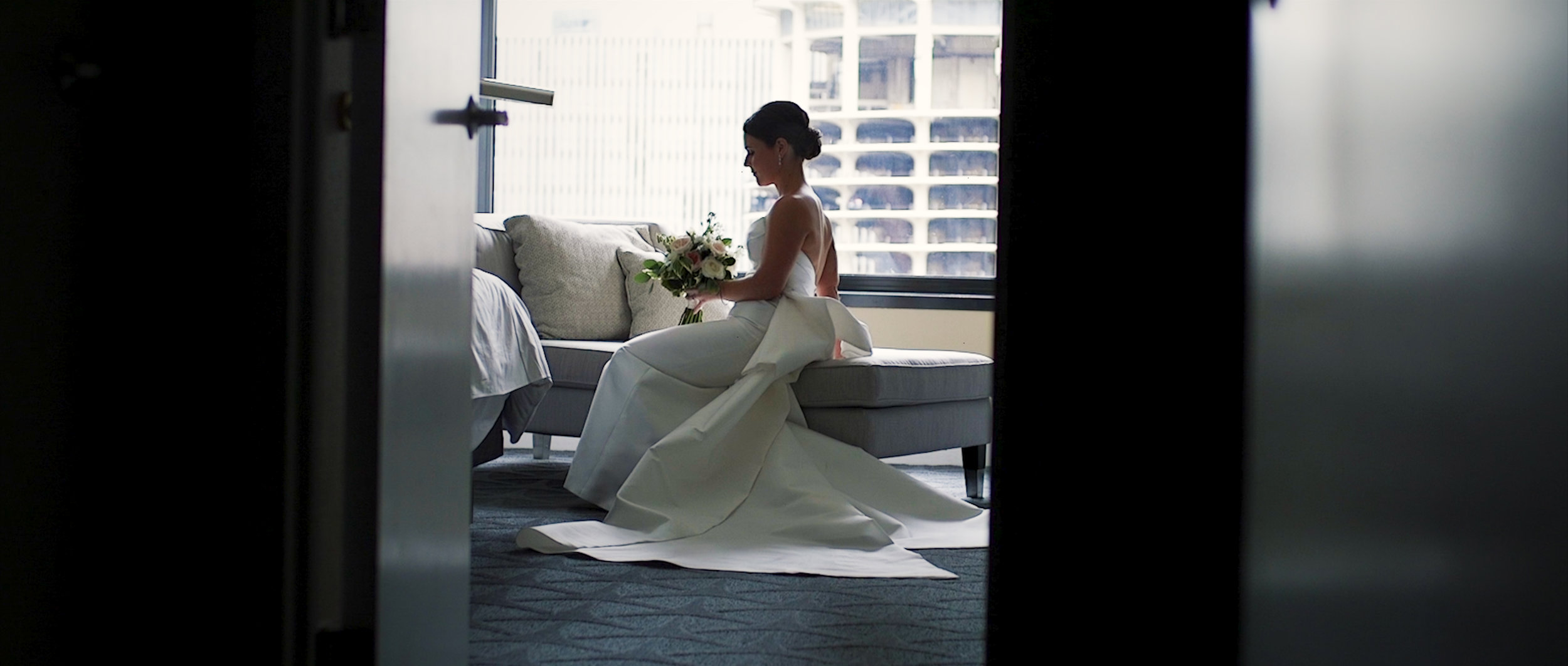 Bride gets ready for wedding at Renaissance Hotel in downtown Chicago.