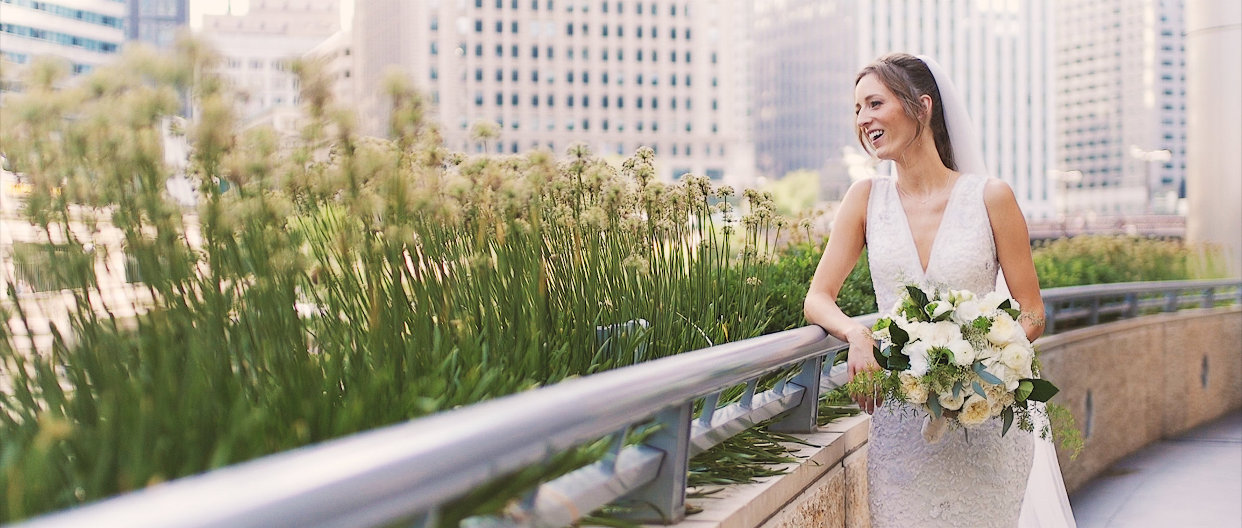 Bride gets ready at the Langham Chicago before wedding at the Field Museum. Chicago Wedding Films