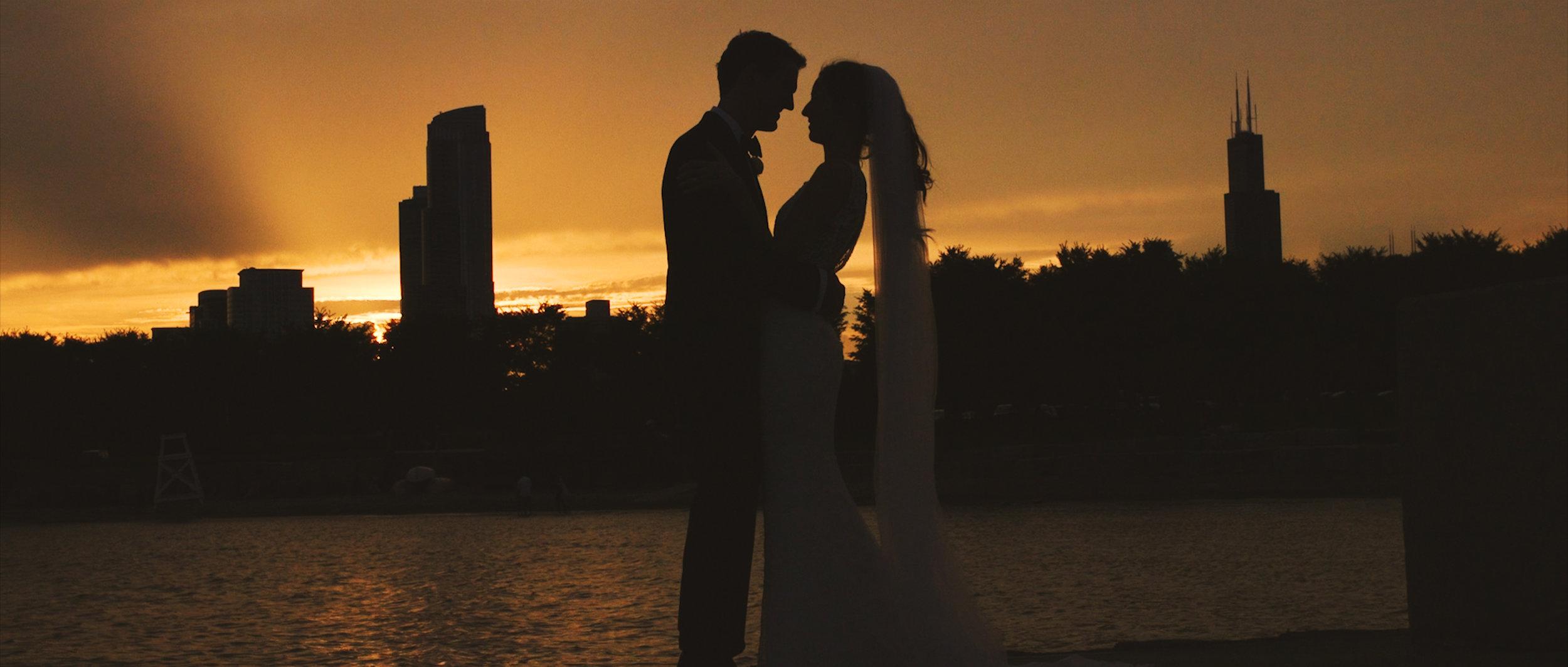 Wedding photos video Chicago skyline