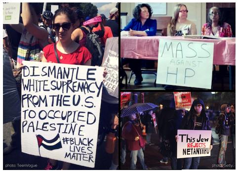 Delegates in Action: Lauren J. profiled by TeenVogue protesting a white supremacist rally in Boston; Elizabeth R. speaks for Mass Against HP; Matt B. protests Netanyahu's visit to Philadelphia.