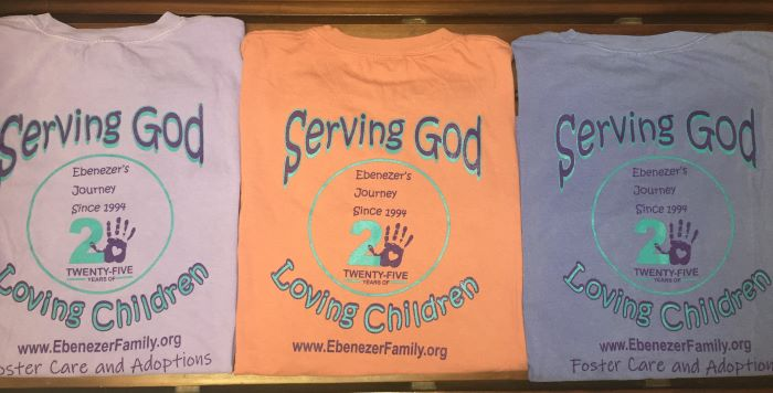 Comfort Color t-shirts with design on front left (see image above for front design) and on back. Available in purple, pink, and blue and in sizes M, L, and XL. $15.00 each
