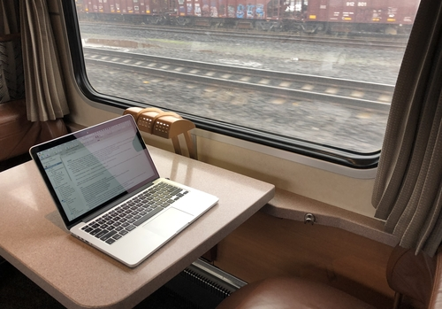 Writing on Amtrak between Seattle and Portland