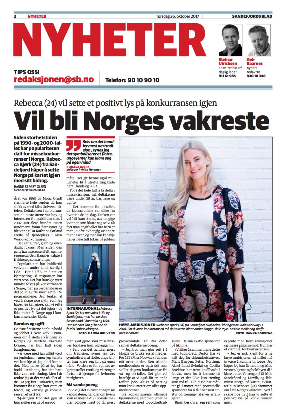 Rebecca Bjørk,  Kandidat Miss Norway