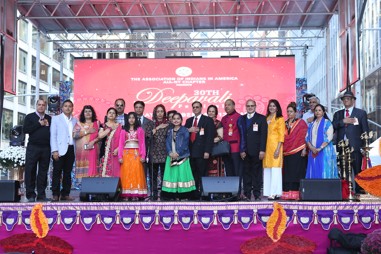 The AIA-NY Chapter Executive committee at their 30th Annual Deepavali Festival at South Street Seaport, NYC.
