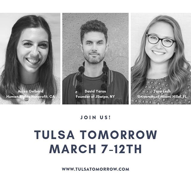 . JOIN US! #tulsatomorrow  www.tulsatomorrow.com . . #tulsa  #biggestsmallcity #jewishyoungprofessionals  #visithere #allinclusive  #weekendgetaway  #networking  #philanthropiccity  #careernetworking #jswipe #jdate #shabbat #synagogue #temple #jewishfederation  #gkff #remotetulsa