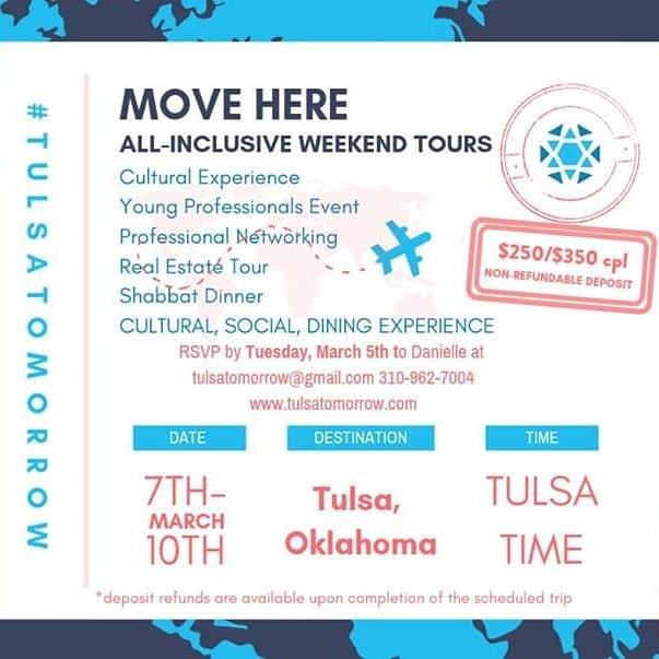 . JOIN US!  #tulsatomorrow Register by Tuesday, March 5th: www.tulsatomorrow.com . . #aliyah  #tulsa #israel #careernetworking #jewishyoungprofessionals  #jewishcity  #biggestsmallcity  #jdate  #jswipe  #gkff #remotetulsa #teachforamerica