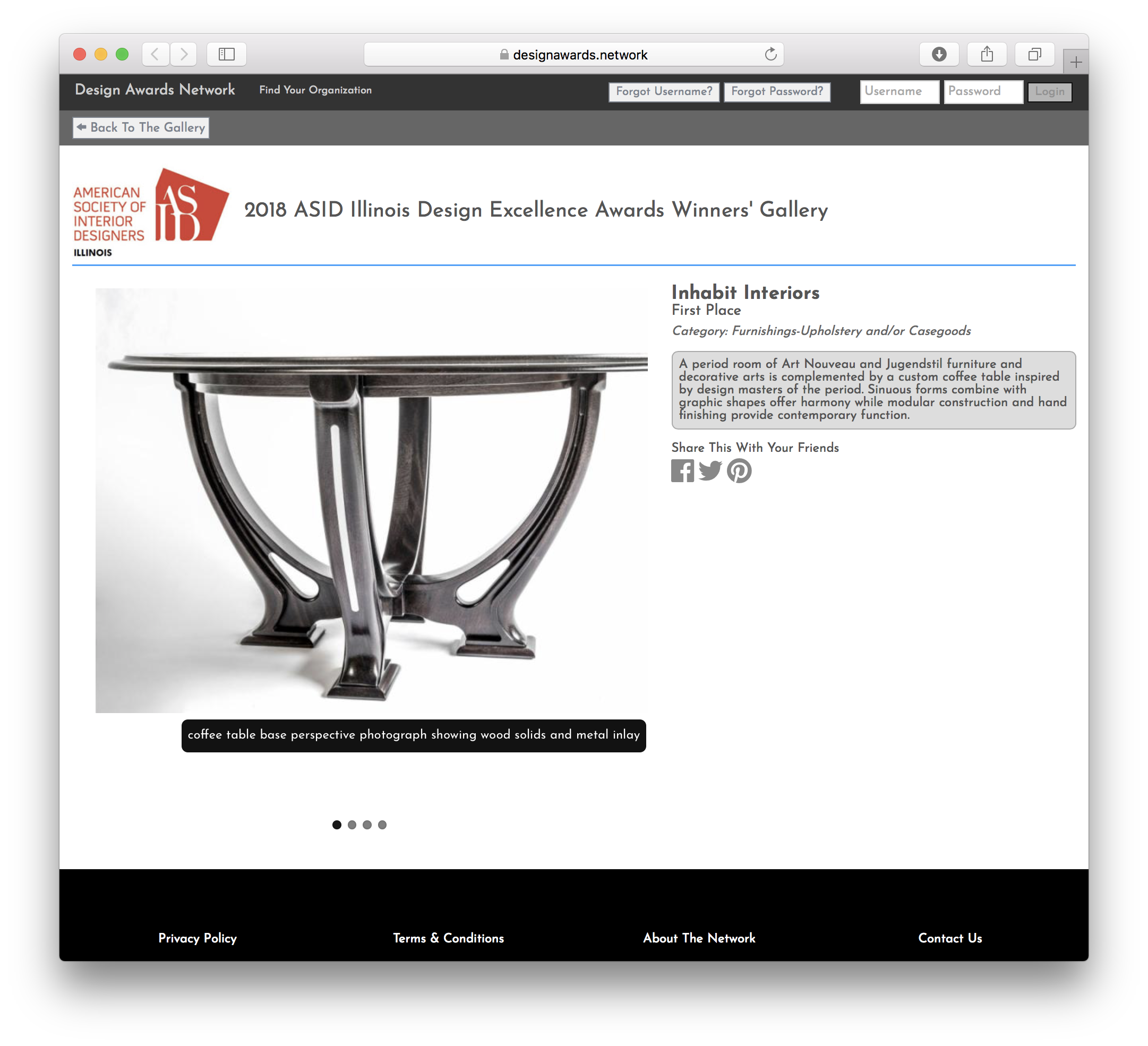 American Society of Interior Designers— Inhabit Interiors First Place Furniture Design Award